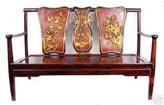 Vintage Chinese Carved Lacquered & Gilt Rosewood Bench