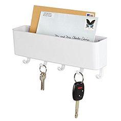 mDesign porte-courrier mural et porte clé mural - pour le rangement de vos clefs, lettres et brochures - porte lettre pour l'entrée - en plastique - blanc: Amazon.fr: Cuisine & Maison
