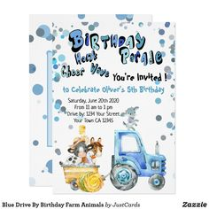 Blue Drive By Birthday Farm Animals Invitation Farm Animal Birthday, Tractor Birthday, Happy Birthday Banners, Birthday Decorations, Farm Party Invitations, Pink Drive, Birthday Celebration, Birthday Parties, Mickey Mouse Birthday