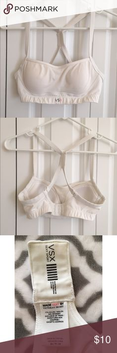 Victoria's Secret sports bra VSX sports bra with adjustable back. Good condition well cared for, only wore a few times. Older bra, not really discolored- but not as bright white as when first purchased Victoria's Secret Intimates & Sleepwear Bras