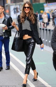 Alessandra Ambrosio.. Isabel Marant Leather Pants, Bottega Veneta Bow Pumps in Black, Thierry Lasry Anorexxxy sunglasses in Shiny Black and Gradient Brown, and Michael Kors Miranda tote..