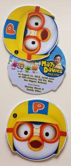 Pororo invites for matt davies' Birthday Party Decorations, Party Themes, Birthday Parties, Party Ideas, Pig Birthday, Invitation Cards, Invites, Childrens Party, Event Planning