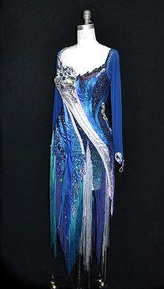 blue and white latin fringe dress bodice design Latin Dresses, Dance Dresses, Costume, Fringe Dress, Ballroom Dress, Dance Outfits, Rhinestones, Designer Dresses, Bodice