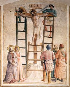 Fra Angelico (Guido di Pietro), 1400-1455, Italian, Nailing of Christ to the Cross (Cell 36), 1441-42. Fresco, 169 x 134 cm. Convento di San Marco, Florence. Early Renaissance.