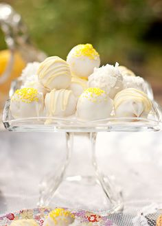 Easter treat! Lemon Cookie - Coconut Truffles  I like the look. Not the coconut part. Pretty for Easter or Baptism.