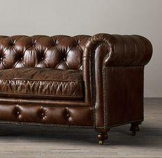 """72"""" The Petite Kensington Leather Sofa / 72"""" W x 34""""D x 30"""" H / Vintage, Cigar / $2475 (on sale)"""