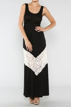 Black Sleeveless Solid Knit Jersey Maxi Dress With Lace Chevron Trim Detail (FREE SHIPPING)
