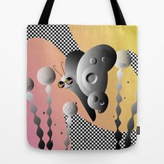 PIXEL GARDEN - Black White Checkered Butterfly Dream Tote Bag by S T U D I O A O K O | Society6  #style #fashion #graphicdesign #design #butterfly #opart #art #graphic #checkered #checker #blackandwhite #pink #sunglasses #cute #bag #handbag #shopping #trippy #flora #fauna #plant #outdoors #landscape #garden #society6 #nyc #brooklyn
