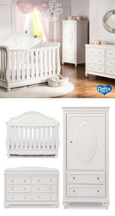 Nurseries are inherently dreamy spaces—imaginative and full of anticipation—create a world of pure enchantment with our Disney Princess Magical Dreams Collection. The collection includes: a convertible 4-in-1 crib that adapts into a toddler bed, daybed and full size bed, 6 drawer dresser, changing topper and armoire.