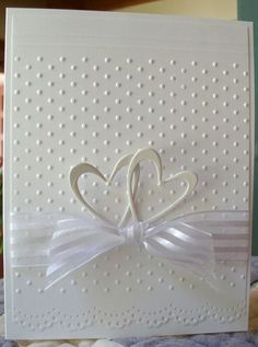 Simple elegance... wedding, anniversary. Could use silver heart embellishments and lightly colored ribbon as well #weddingcards
