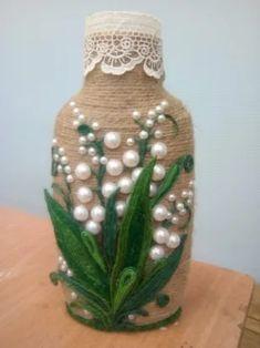 Wine Bottle Art, Glass Bottle Crafts, Diy Bottle, Pinterest Diy Crafts, Burlap Crafts, Diy Crafts For Gifts, Bottle Painting, Mason Jar Crafts, Flower Crafts
