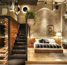 90 Cool Apartment Interior Design Model For Mens 41 - Decorative Inspiration Interior Exterior, Interior Architecture, Interior Design, Interior Ideas, Stairs Architecture, Interior Work, Simple Interior, Loft D'entrepôt, Deco Gamer