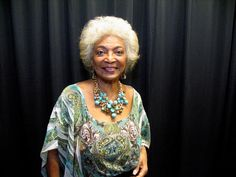 She was incredible and the Space City Con presented her with a proclamation from the City of Houston making August 9th Nichelle Nichols                       Nichele Nicholsof Star Trek. Photo by Jordan Graber - click picture to go to link Nichelle Nichols, Space City, Jazz Band, First Night, Star Trek, Houston, The Incredibles, Singer, Saree