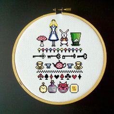 Alice in Wonderland - Cross Stitch Sampler Pattern by LadyBeta on Etsy https://www.etsy.com/listing/103383731/alice-in-wonderland-cross-stitch-sampler