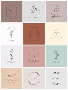 Organic product brand logo vector collection premium image by rawpixel com - Logo Branding, 2 Logo, Product Branding, Product Logo, Branding Ideas, Logo Inspiration, Logo Floral, Flower Logo, Logo Design Flower