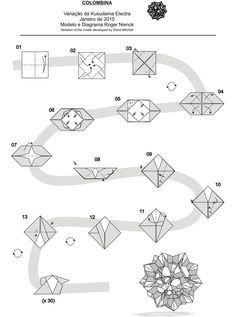 Diagram Electra - Colombina | by Roger N.origami Origami And Geometry, Origami And Kirigami, Origami Ball, Origami Love, Paper Crafts Origami, Origami Design, Origami Flowers, Modular Origami, Origami Folding