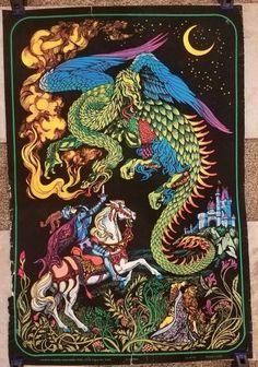 Original Western Graphics No. Saint George And The Dragon, Black Light Posters, Monster, Light Art, Love Art, Westerns, Spiderman, Medieval, Velvet