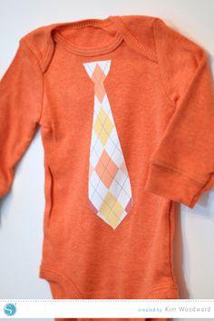 Silhouette America Blog | Patterned printable heat transfer onesies | DIY Baby Gift Idea - baby tie or bow tie onesie