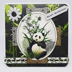 I am loving the oriental papers that came with the Debbi Moore magazine issue 41 last month. There's a lot of fussy cutting involved but it's worth it for the finished result. Who doesn't love pandas Debbie Moore, Retirement Cards, Paper Cutting, I Card, Cardmaking, Decoupage, Oriental, Magazine, Bear