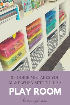 8 Rookie Mistakes You Make When Setting Up A Playroom - The Organized Mama Professional organizer shares the 8 mistakes parents make when setting up a playroom for their kids, and effective ways to fix those mistakes! Small Playroom, Toddler Playroom, Playroom Design, Playroom Decor, Playroom Ideas, Small Kids Playrooms, Modern Playroom, Kids Playroom Colors, Kids Playroom Storage