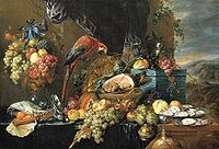 Jan de Heem, banquet still life with parrot Renaissance Food, Renaissance Kunst, Renaissance Paintings, Vanitas, Utrecht, Banquet, Dutch Still Life, Baroque Painting, Dutch Golden Age