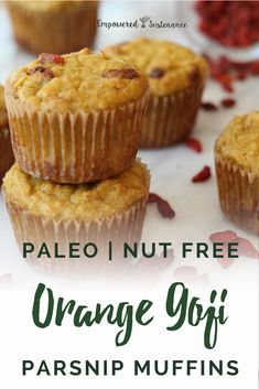 These light, fragrant Paleo Parsnip Muffins feature nutrient-dense coconut flour, jewel-toned goji berries, and parsnips for a warm, nutty flavor . Paleo Desert Recipes, Paleo Recipes, Grilled Recipes, Shrimp Recipes, Free Recipes, Snack Recipes, Dessert Recipes, Cooking Recipes, Snacks