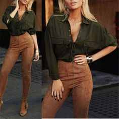 Blusas  Women Turn Down Collar Chiffon Shirt Sexy Deep V Front Lace Up Long Sleeve Blouse Casual Tops Plus Size S-3XL - Green, XL Tag a friend who would love this! Visit our store