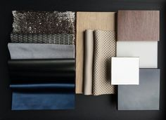 REIMANN INTERIOR & DESIGN - material sample box for a project with grey, aluminum and blue colors and fabrics...