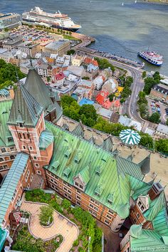 Birds-eye view of Quebec city, taken from the roof of Quebec City Fairmont Chateau Frontenac Hotel