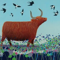 """""""Swoopers"""" Highland cow Scottish Art from Ailsa Black"""