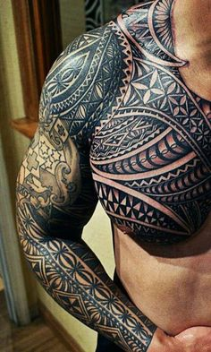 Maori Tattoo On Man Chest and Right Sleeve : Maori Tattoos Tribal Arm Tattoos, Maori Tattoos, Tongan Tattoo, Samoan Tattoo, Arm Tattoos For Guys, Sleeve Tattoos, Tattoos For Women, Tattos, Calf Tattoos