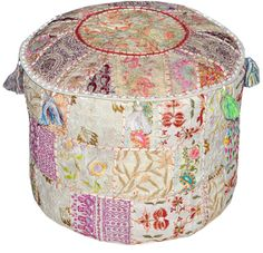 Maroon Bohemian Vintage Patchwork Indian Pouf Large Round Ottoman Seat Stool Embroidered Pouffe round cotton stool chair bench foot stool on Etsy, ¥4,786.17
