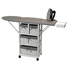 @Overstock.com - Nordic Sunrise All-in-One Ironing Board and Shelving Unit - This ironing shelf is a storage unit and an ironing board all in one. When not in use, you can fold the ironing board down to save space while still looking great.  http://www.overstock.com/Home-Garden/Nordic-Sunrise-All-in-One-Ironing-Board-and-Shelving-Unit/8472672/product.html?CID=214117 Add to cart to see special price
