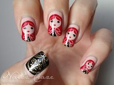 A diary of a nail polish addict: Matryoshka Dolls Nails ~ pinning this for when I use my Nailz Craze stamping plate!