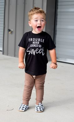 Trouble never looked so sweet- trouble maker shirt - Humor Shirts - Ideas of Humor Shirts - Trouble never looked so sweet trouble maker shirt cute boy and girl clothes boys graphic tee girl screen printed shirt. Baby T Shirts, Cute Shirts, Shirts For Girls, Funny Shirts, Toddler T Shirts, Kids T Shirts, Baby Boy Fashion, Kids Fashion, Fashion Clothes