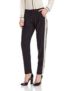 Parker Women's Talon Silk Tuxedo Stripe Pant, Black, 4 *** Visit the image link more details.