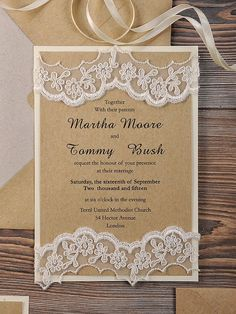 Straight lace not so fancy with a piece of jute bow. Lace Eco Recycling Paper Wedding Invitation, County Style Wedding Invitations, Rustic Wedding Invitations