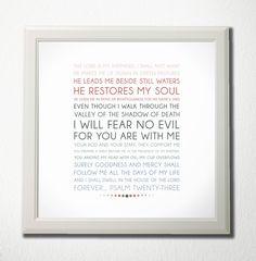 Bible Verse Art  -  Psalm 23 - Scripture Print. $14.00, via Etsy.