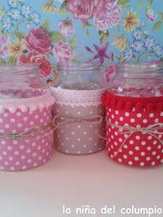 DIY-BOTES RECICLADOS Handmade Home Decor, Handmade Crafts, Diy And Crafts, Mason Jar Crafts, Bottle Crafts, Lace Mason Jars, Bottles And Jars, Glass Jars, Jar Design