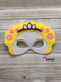Rapunzel Party Favors, Rapunzel Felt Mask, Princess Party Mask, Rapunzel Costume, Rapunzel Birthday, Tangled Birthday