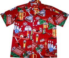 """Hawaiihemd / Hawaii Hemd """"It's Partytime"""" / Original von Hawaiihemd.net / 100% Baumwolle / Knöpfe aus Kokosnuss / inkl Brusttasche"""