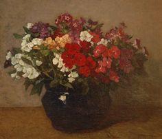 'Johannes Evert' Hendrik Akkeringa (Blinjoe (Nederlands-Indië) 1861-1942 Amersfoort) Phloxen in zwarte pot - Kunsthandel Simonis en Buunk, Ede (Nederland).