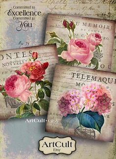 SHABBY VICTORIAN FLOWERS - Digital Sheet ArtCult Printable images for Coasters, Greeting cards, Gift tags, Scrapbooking