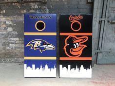 https://flic.kr/p/VbDSVJ | Baltimore Ravens vs Orioles custom cornhole boards | B'more is crazy for cornhole.  Check out these baggo beauties!