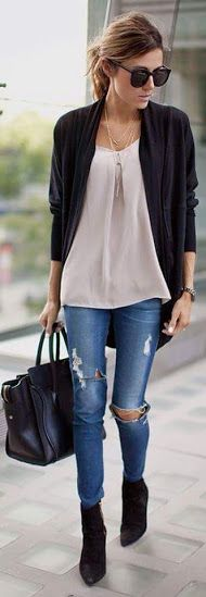 Look con Slit Jeans, conoce más estilos en... http://www.1001consejos.com/outfits-con-jeans-rasgados/