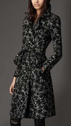 Burberry Long Printed Wool Trench Coat