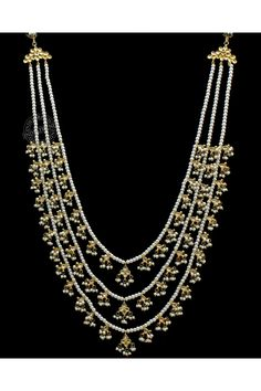 Gold toned multi-strand necklace with kundan and pearl detail. Wedding Jewellery Designs, Gold Jewellery Design, Gold Jewelry, Jewelery, Beaded Jewellery, Diamond Jewellery, Wedding Jewelry, Multi Strand Necklace, Necklace Set