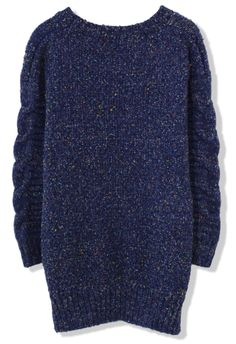Candy Dots Cable knit Sweater in Navy Blue