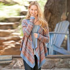 "A flowing asymmetrical shape updates classic Fair Isle patterns in our eye-catching, flattering wrap. Lightweight blend of viscose/polyamide/cotton/lambswool/cashmere/angora. Hand wash. Imported. Exclusive. Sizes XS (2), S (4 to 6), M (8 to 10), L (12 to 14), XL (16). Approx. 22-1/2""L."