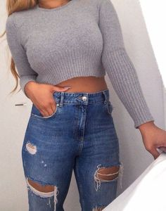 Grey sweater and awesome jeans